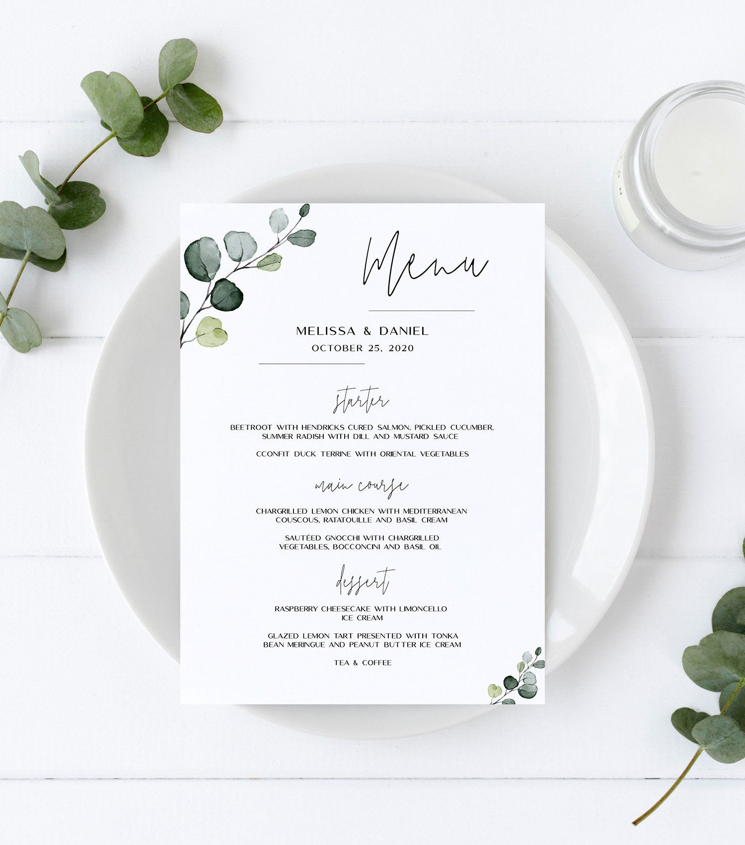 Wedding Menu Template With Hand Painted Watercolor Eucalyptus Etsy Wedding Menu Template Wedding Menu Menu Template