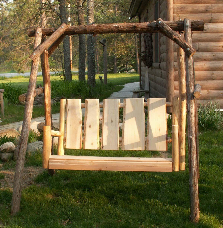 Cedar Log Lawn Swing Porch Swing Lawn Swing Cottage