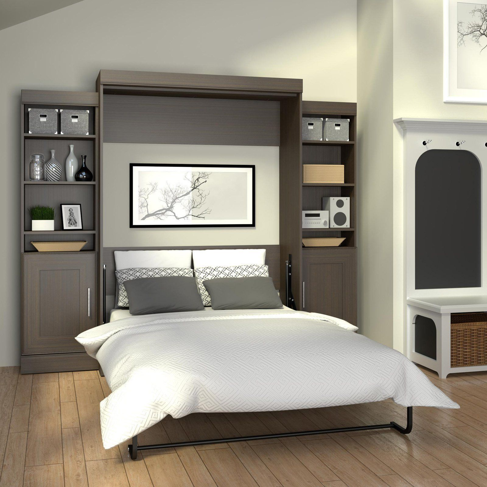 bestar edge murphy wall bed with 1 door and 3 shelf on wall beds id=62560