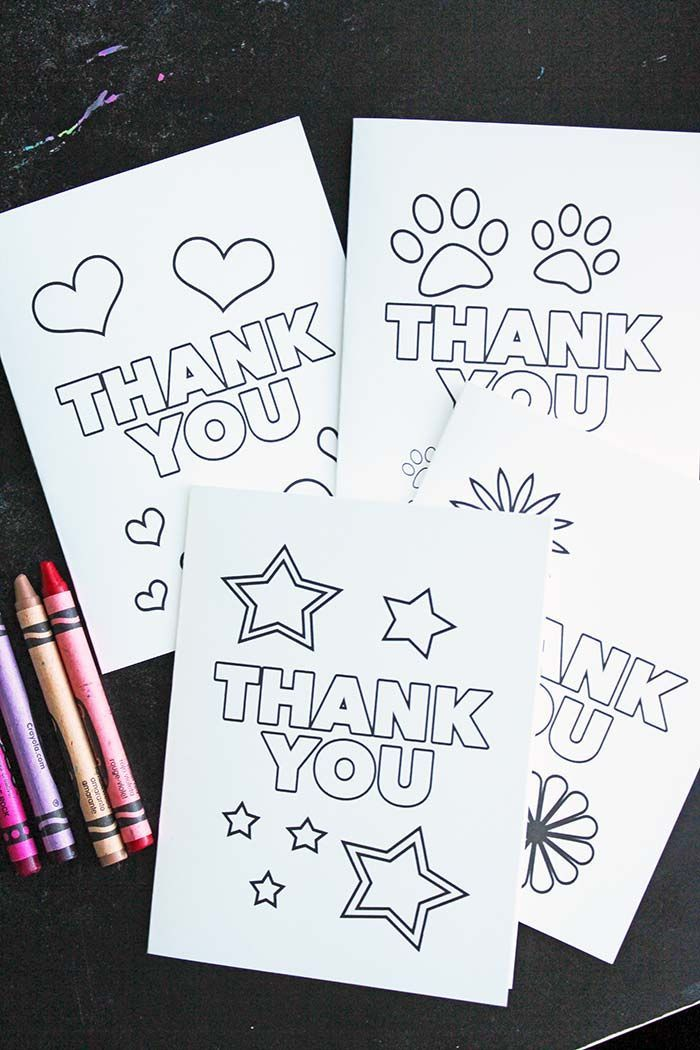 Free Printable Thank You Cards for Kids to Color & Send | Familias