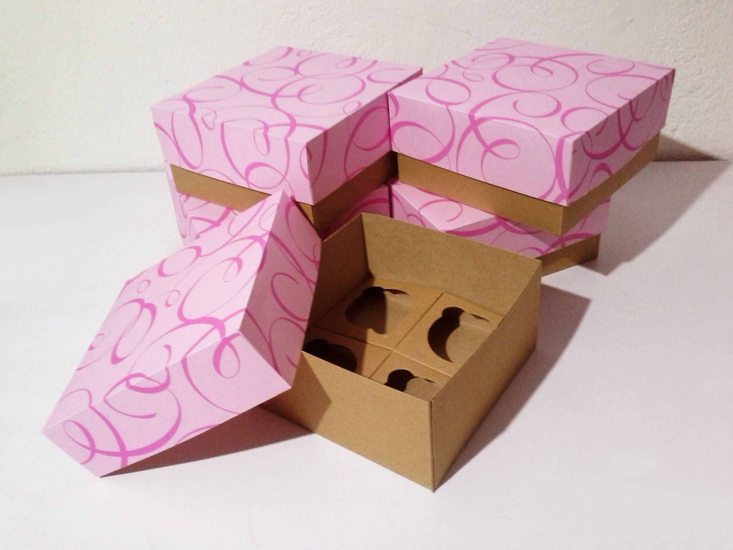 Caja para 4 cupcakes | Cajas para cupcakes | Pinterest | Craft