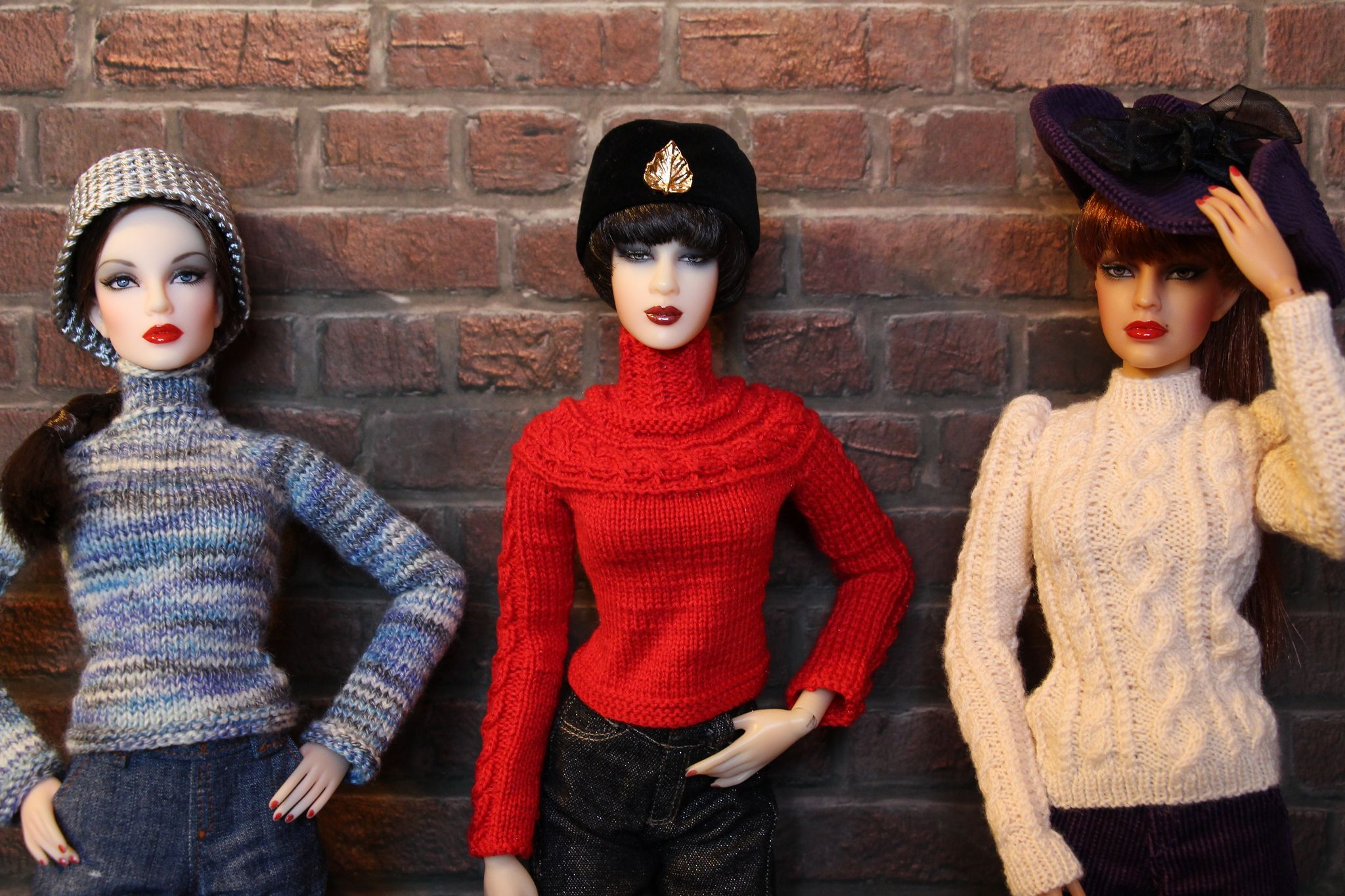 https://flic.kr/p/gSnWZJ | New Sweaters | Grace and Ginny model new sweaters, while Sun wears an older one. All sweaters by Brunhilde Fashion.