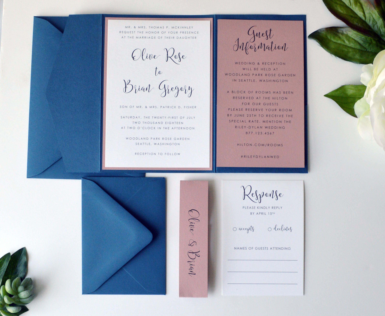Navy Wedding Invitation, Dusty Pink Wedding Invitation, Pocketfold ...