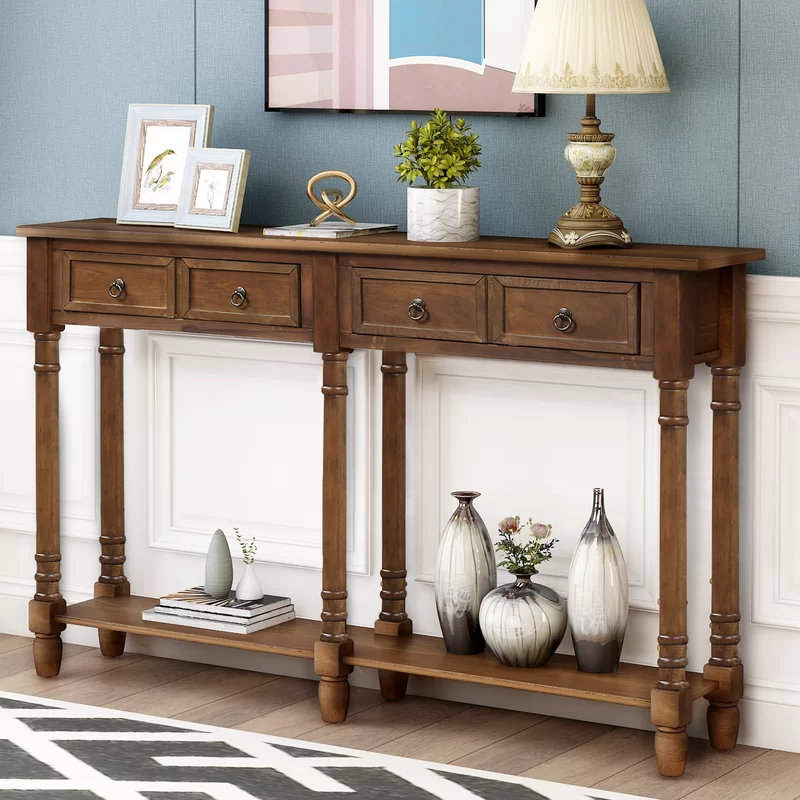 Carlito Console Table In 2021 Sofa With Drawers Storage Narrow - Solid Oak Console Table With Storage