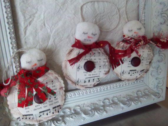 Primitive snowman ornaments handmade set of by SweetMeadowDesigns, $12.50