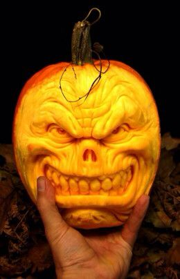 Scary Face pumpkin carving
