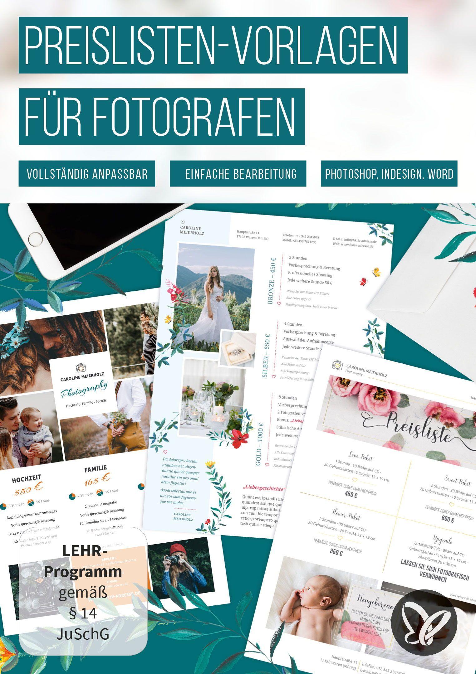 Preislisten Vorlagen Fur Fotografen Photoshop Indesign Publisher Word Photoshop Fotografen Vorlagen