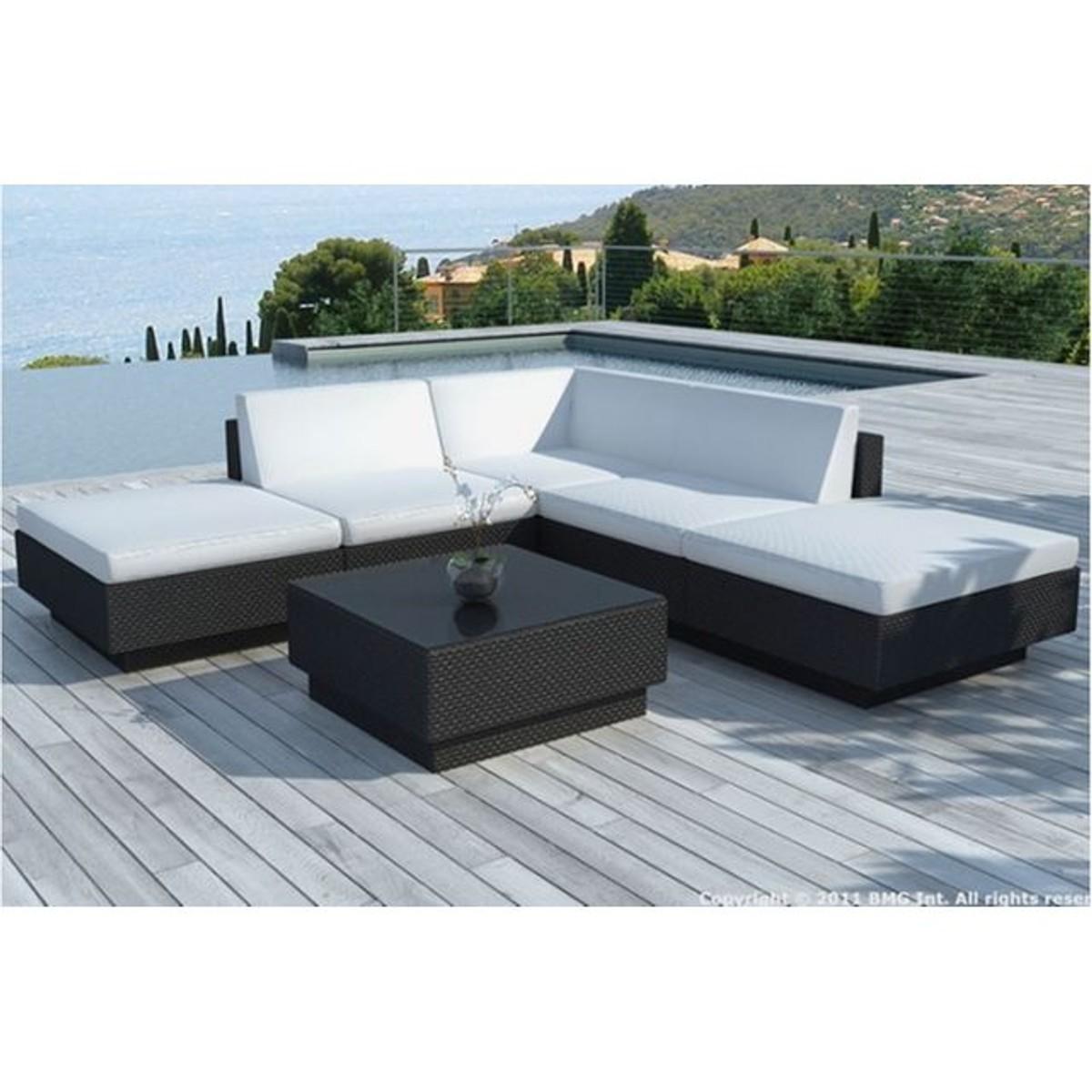 Canape D Angle Table De Jardin Noir Et Blanc Ecru En Resine