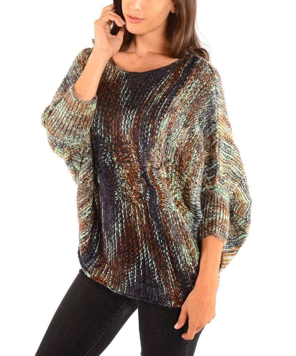 Another great find on #zulily! Blue & Brown Stripe Cable-Knit Dolman Sweater by Diva Designs #zulilyfinds