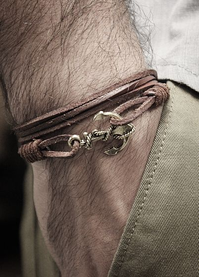 Anchor and leather bracelet