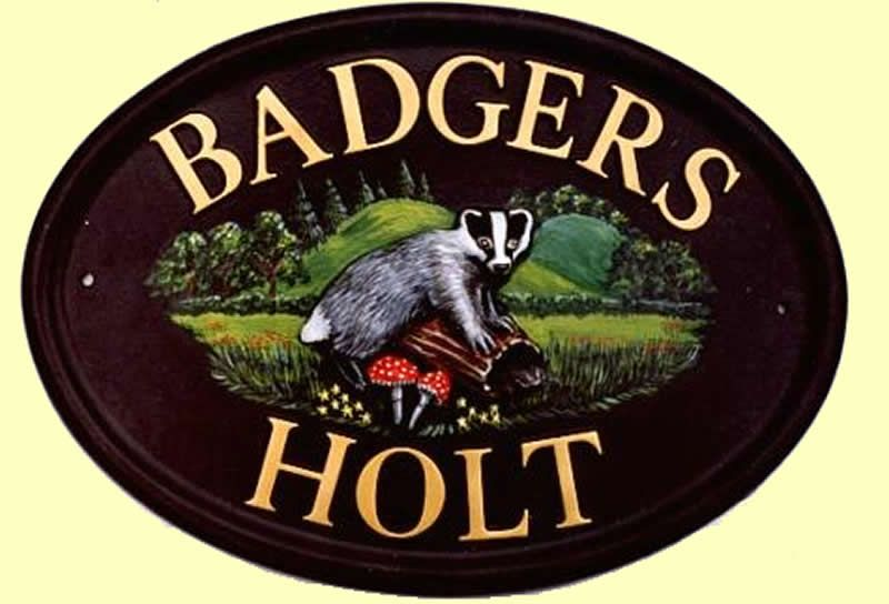 Badger shown on oval door sign with hand painted scene. Ref: A2a & Badger shown on oval door sign with hand painted scene. Ref: A2a ... Pezcame.Com