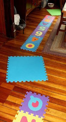 We like to move. A lot. A favorite is our activity course using ABC mats and balloons.