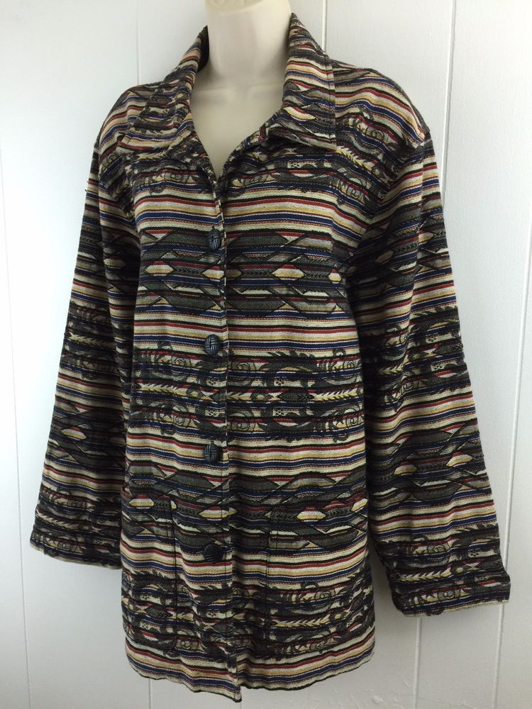 Chico S 2 M L Jacket Tribal Aztec Southwest Heavy Cotton