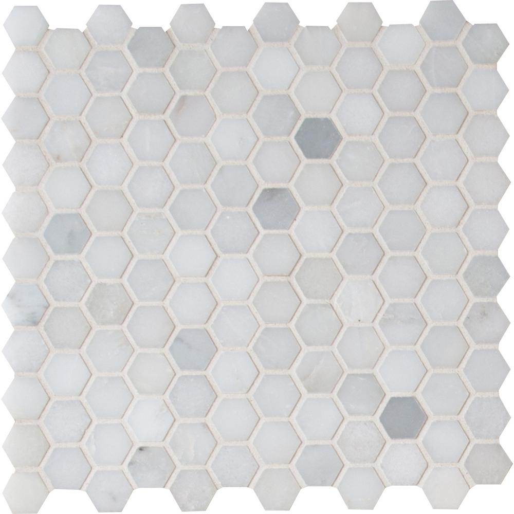 Msi Greecian White Mini Hexagon 11 61 In X 11 81 In X 10 Mm Polished Marble Mesh Mounted Mosaic Tile 0 95 Sq Ft Gre 1hexp With Images Hexagonal Mosaic
