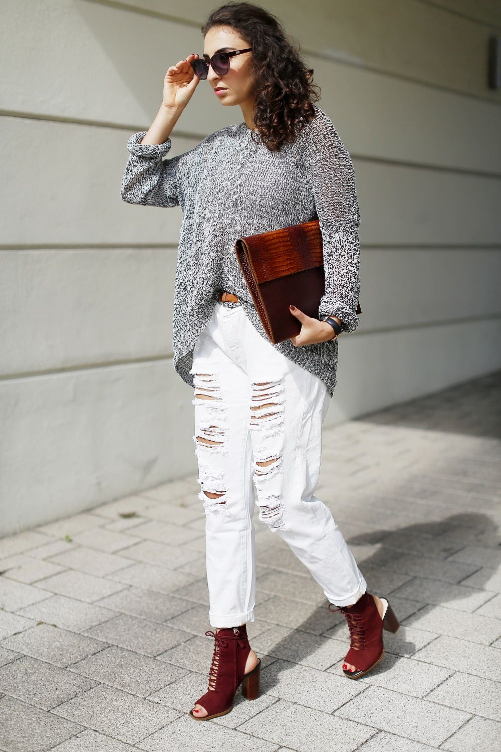 Justfab Ripped White Boyfriend Jeans Girlfriend Jeans beige pants ...
