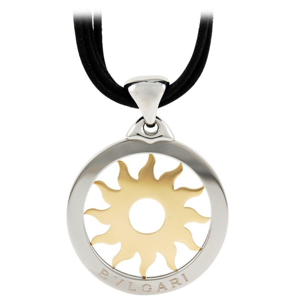 bulgari tondo steel gold sun pendant necklace