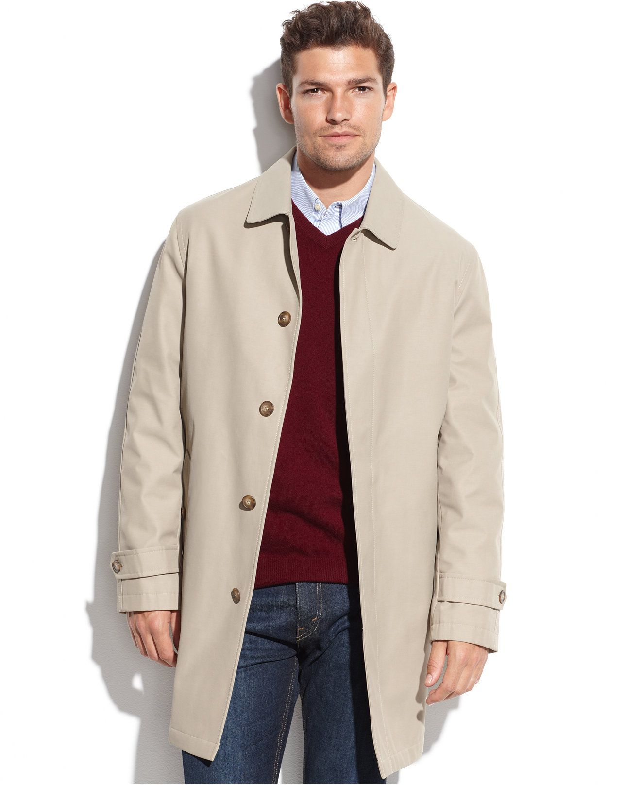 Tommy Hilfiger Single-Breasted Removable-Liner Rain Coat - Coats ...