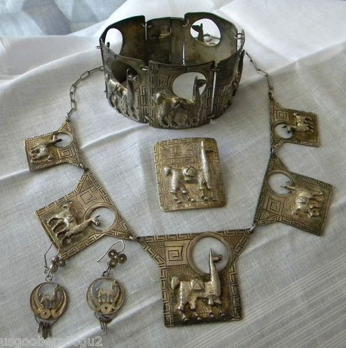 Early Vintage Peruvian Sterling Llama Bracelet Necklace Brooch Earrings Set | eBay