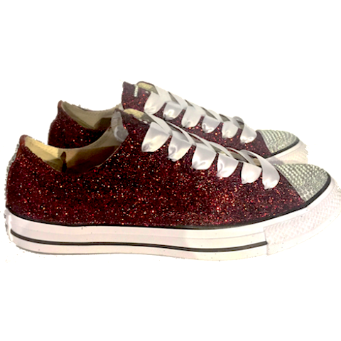 f95d9442437e Sparkly Glitter Converse All Stars Burgundy Maroon Wine wedding bride  sneakers shoes