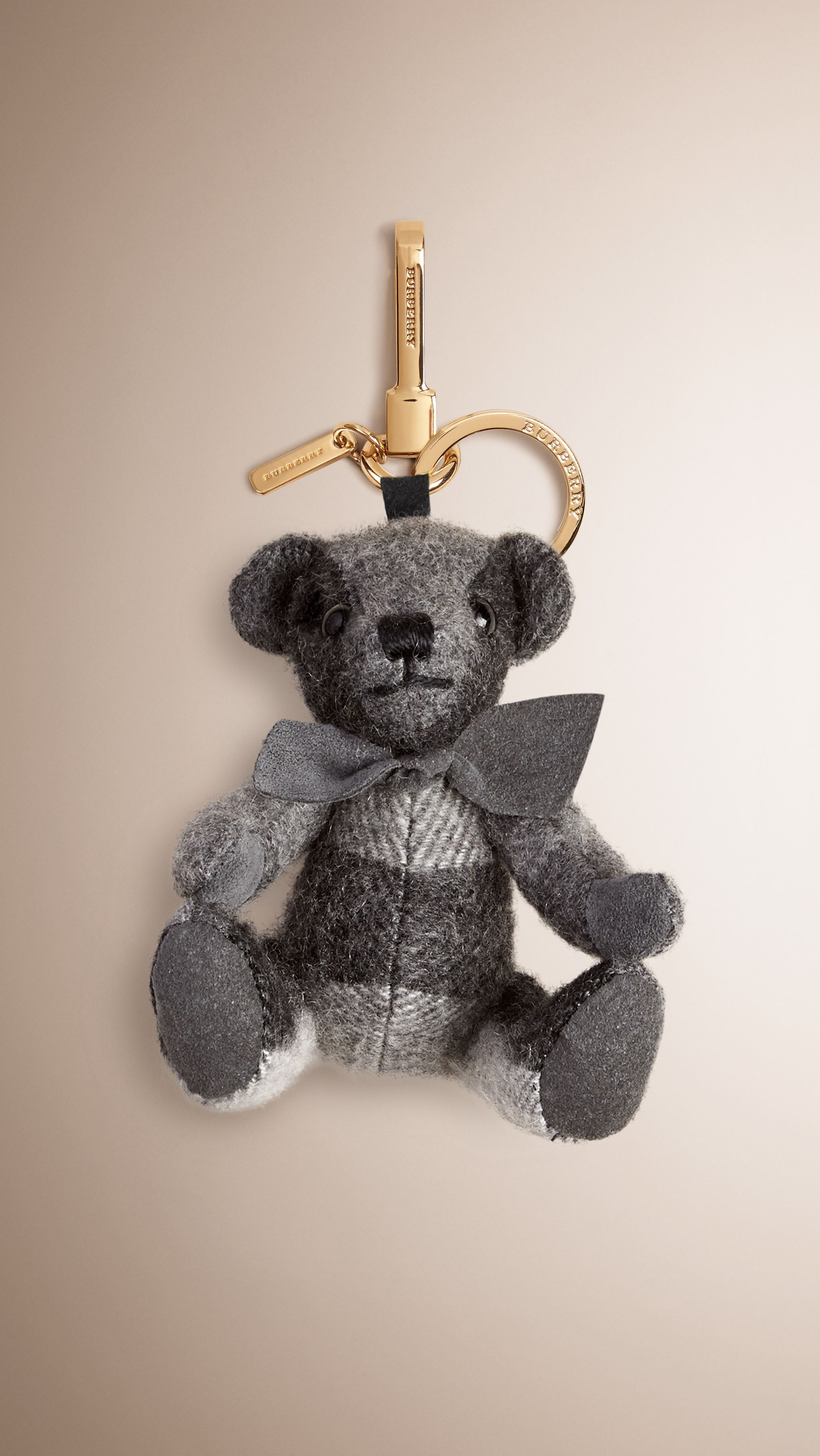 53f461fce2 Thomas Bear Charm in Check Cashmere Mid Grey | Burberry | OBSESSION ...