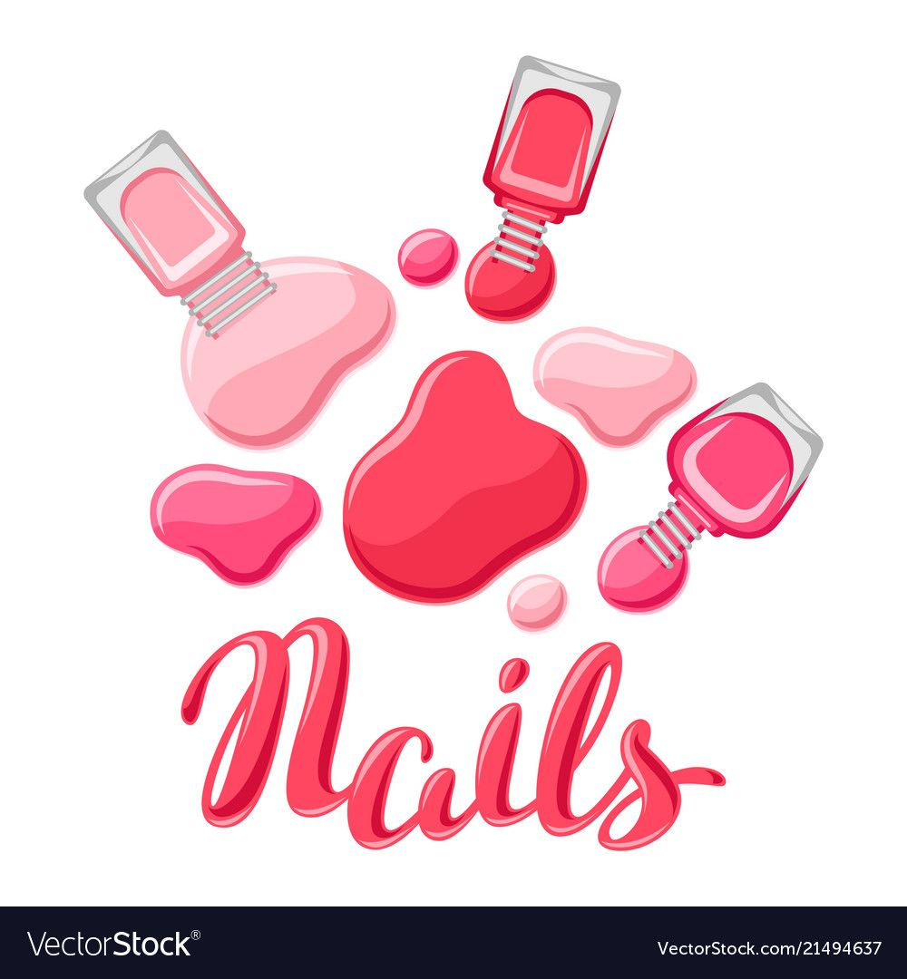Drops of nail polish and bottles vector image on Uñas