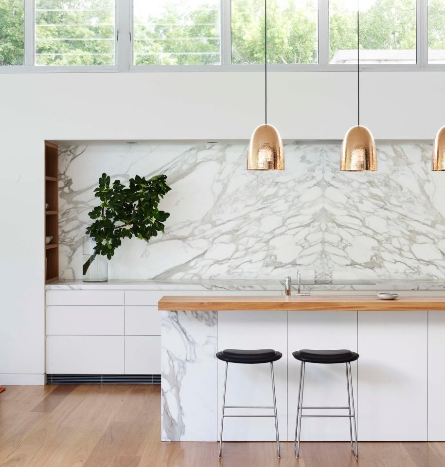 Marble splashbacksworktops u copper pendant lights kitchen