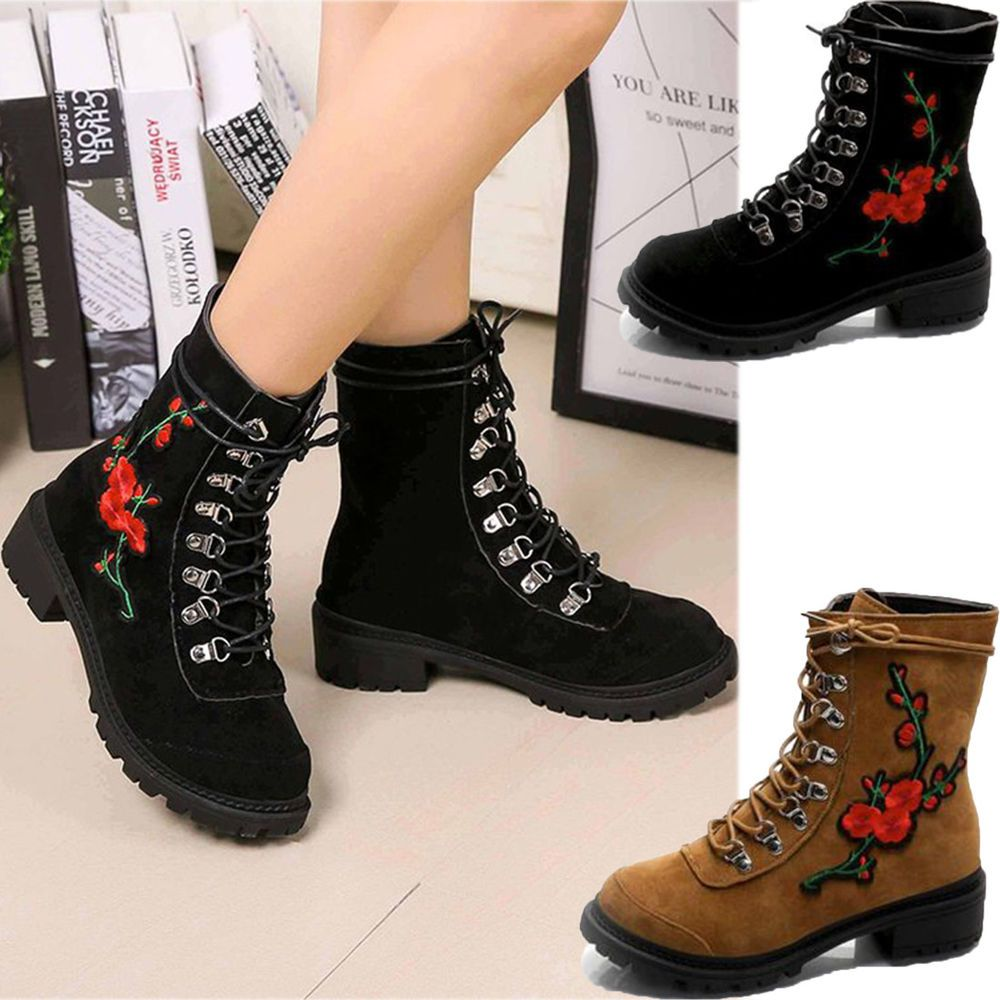 Women's Lace Up Embroidery Flowers Low Heel Martin Boots