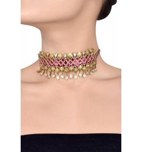 df5babc3d0 Silver Gold Plated Crystal Rhomb Floral Pear Drop Choker | Ooh ...