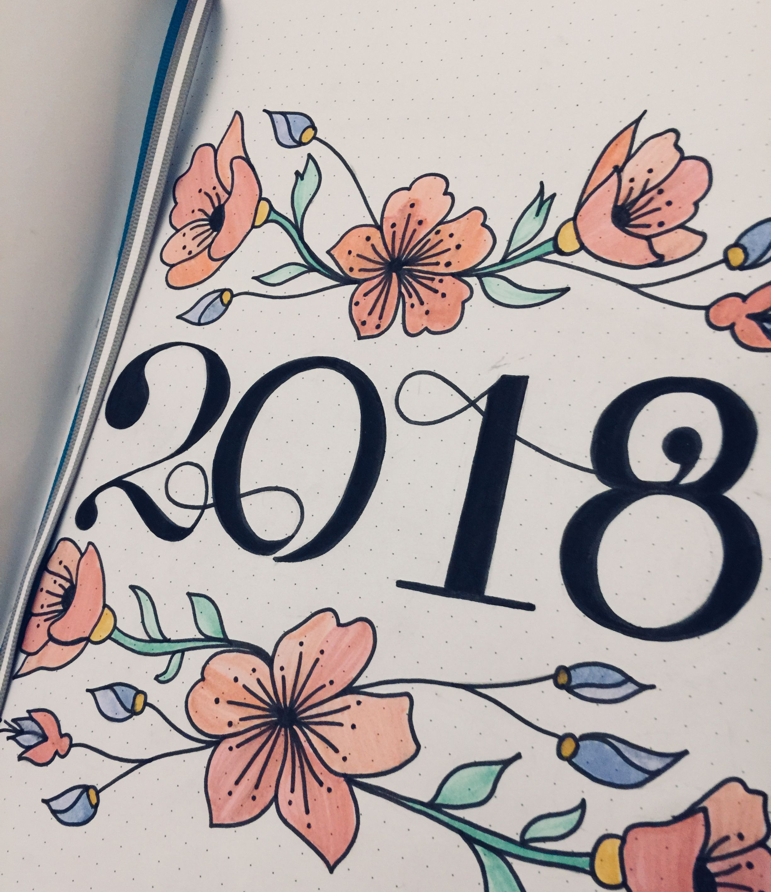 bullet journal, 2018 cover page, floral design, calligraphy numbers