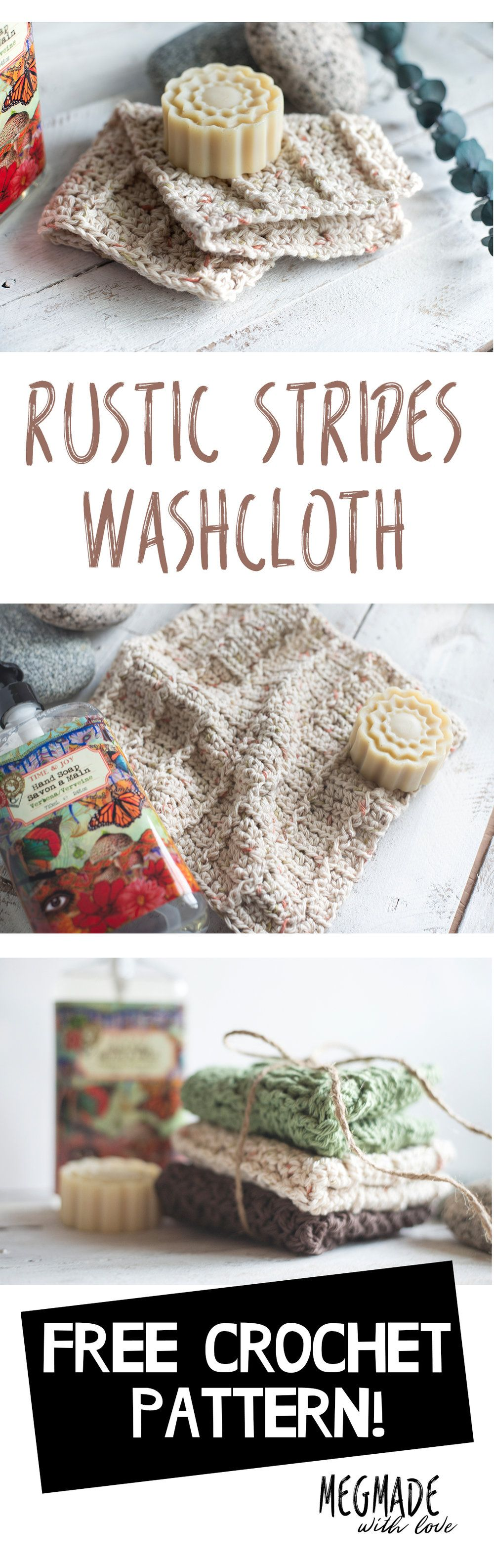 Crochet Rustic Stripes Washcloth Pattern | Tejido