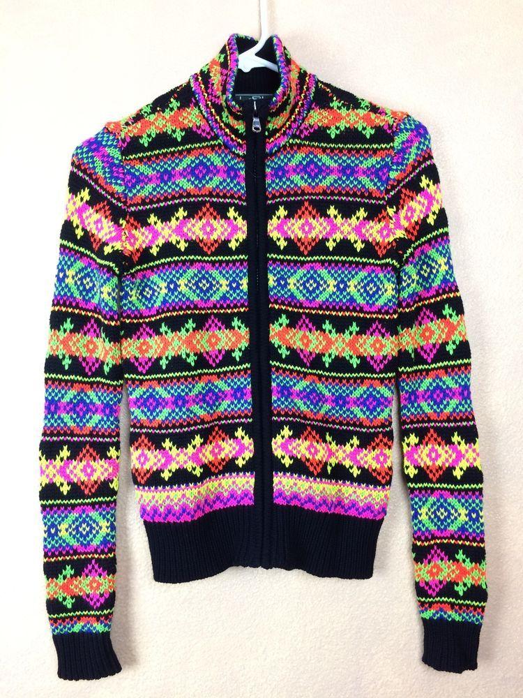 Ralph Lauren Full ZIp Neon Cardigan Sweater L-RL Active Mock Turtleneck Size PS #LaurenRalphLauren #FullZip