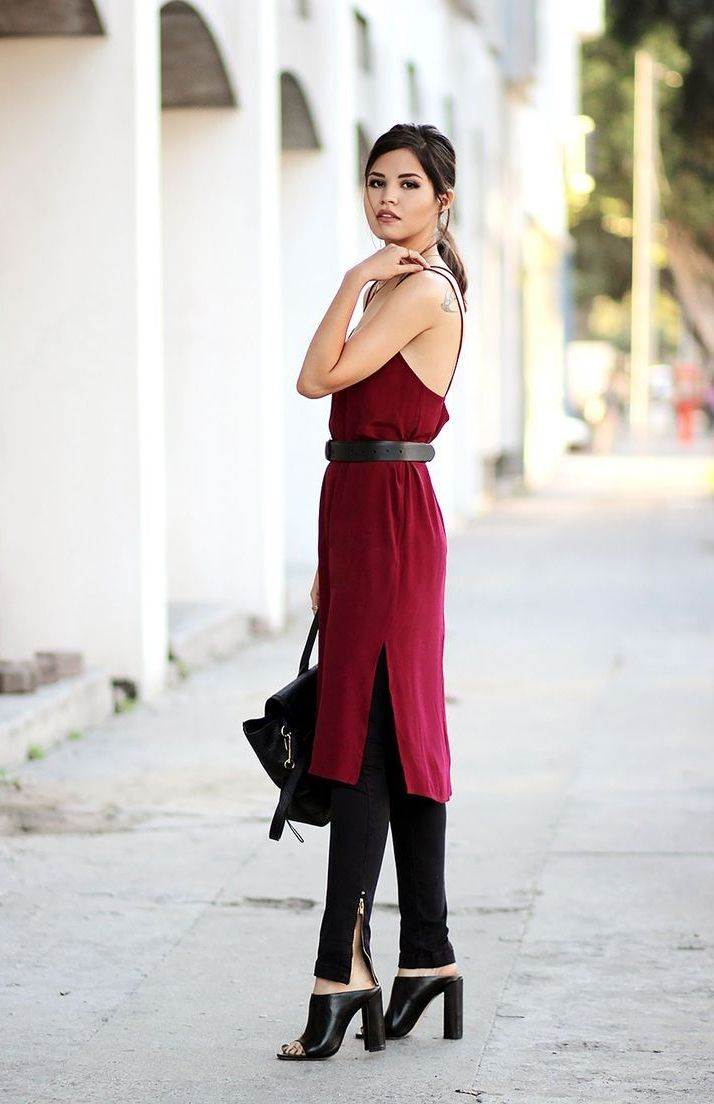 pants with slip dress