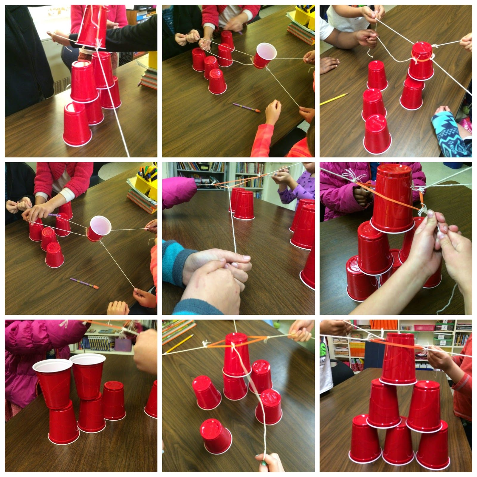 Team Building Cup Stacking With Rubberband And String