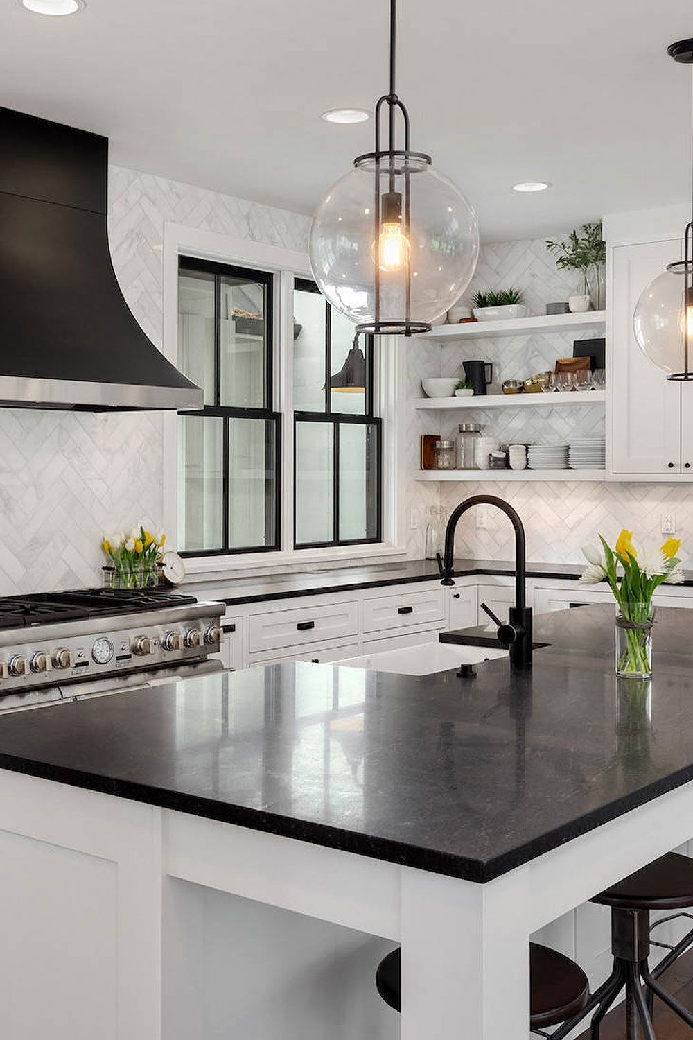 50 Black Countertop Backsplash Ideas Tile Designs Tips Advice In 2020 White Modern Kitchen Home Decor Kitchen Black Kitchen Countertops