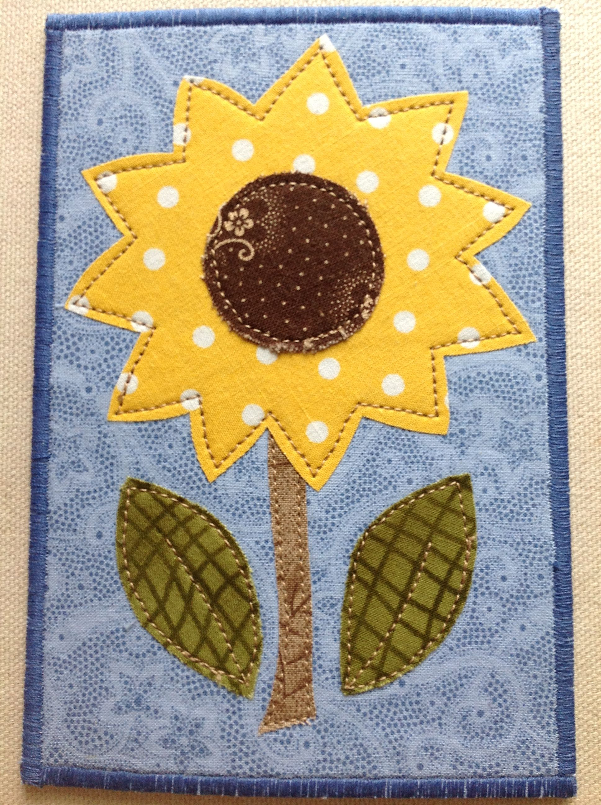 Quilted Sunflower Postcard Fabric Cards Sunflower Cards