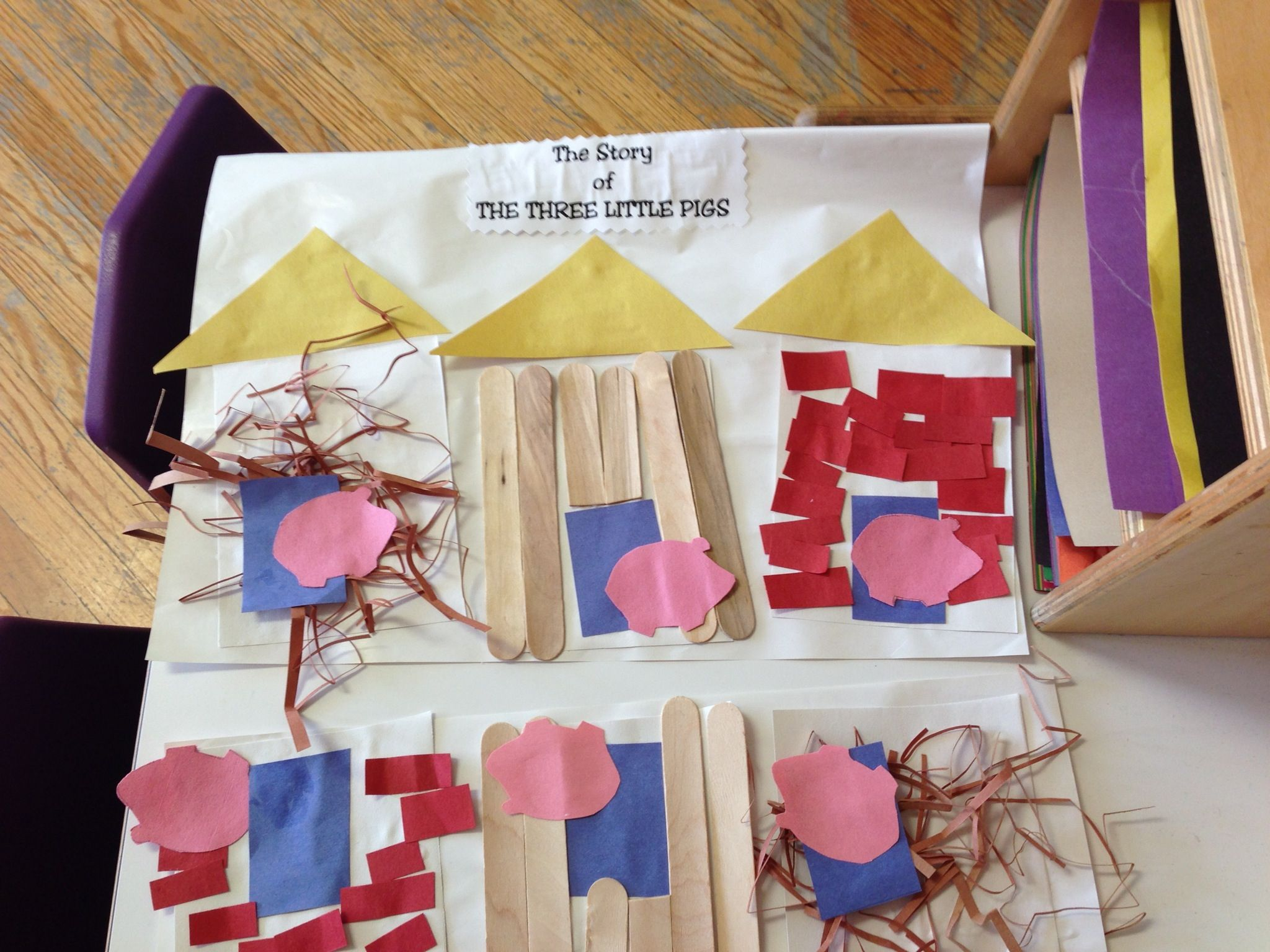 Folktale Activity The Three Little Pigs Per Child 3 White Squares For Houses 3 Yellow Roofs 3