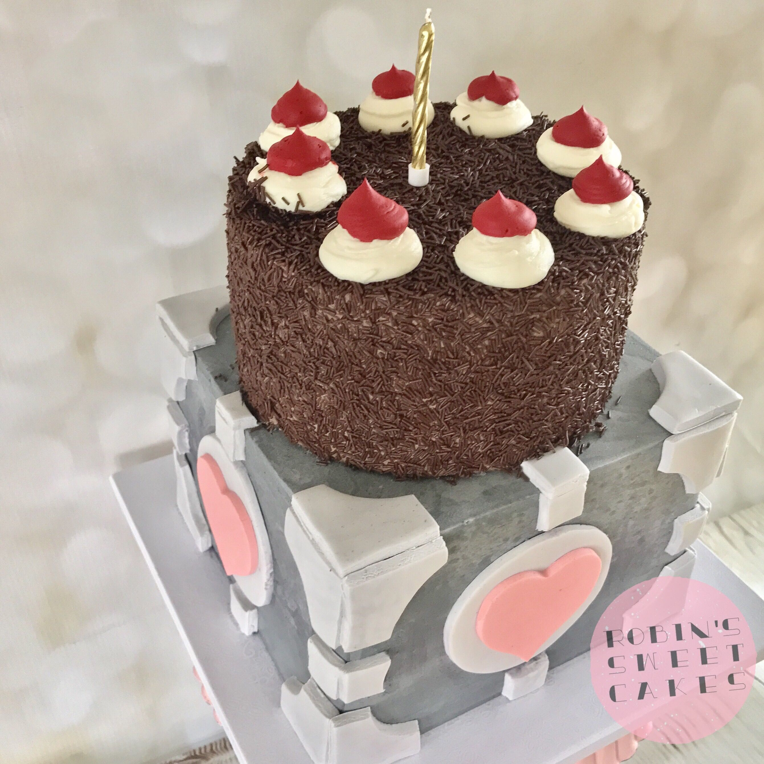 Companion Cube Portal Cake Birthday Cakes Pinterest Portal