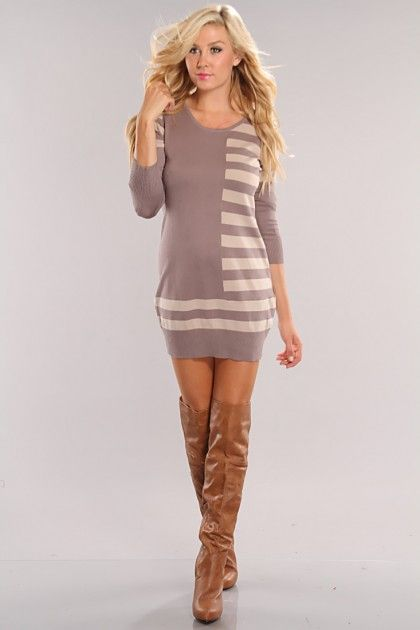 Sexy Sweater Dress and Boots