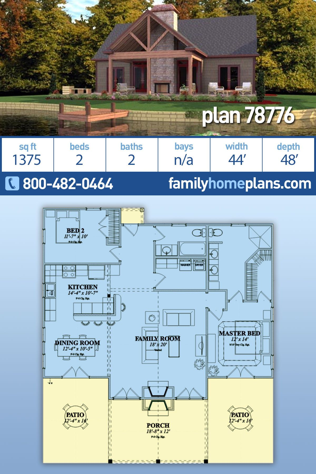 Bungalow Style House Plan 78776 With 2 Bed 2 Bath In 2020 Vacation House Plans Bungalow Style House Plans Family House Plans