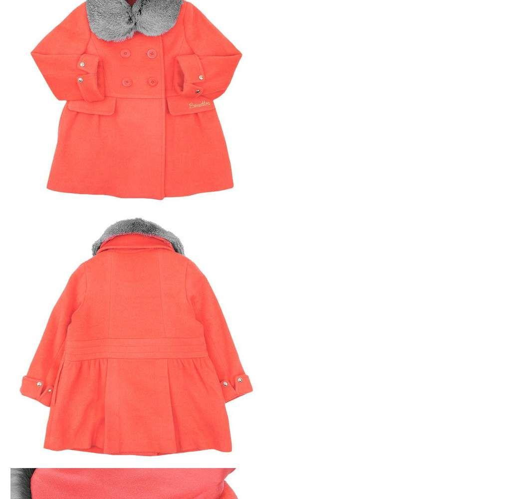"""11街,[BENETTON KIDS/贝纳通儿童] FUR 立领褶皱大衣 橙色(QACT06661 OR),懂你""""美""""个瞬间的导购街!"""