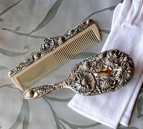Cij Sale Antique Silver Vanity Set Vintage Brush Amp Comb