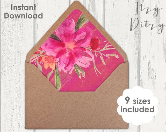 Envelope liners template for you to print a home - Tropical fuchsia