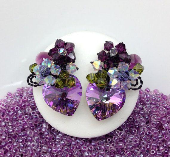 Purple Earrings  Floral stud Earrings  Heart от PastelGems на Etsy