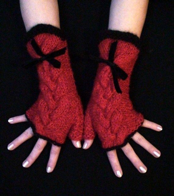 Guantes tejidos sin dedos - Dos agujas - Tejidos de Punto - 1 ...