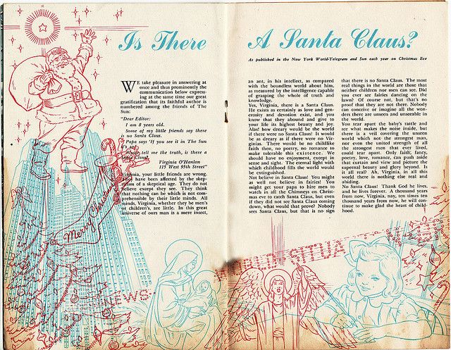 Vintage promotional booklet. The famous letter from Virginia, asking whether there truly is a Santa Claus.