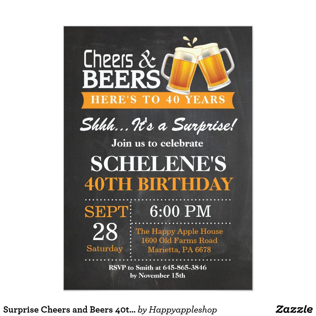 Surprise Cheers and Beers 40th Birthday Invitation | 40 birthday and ...