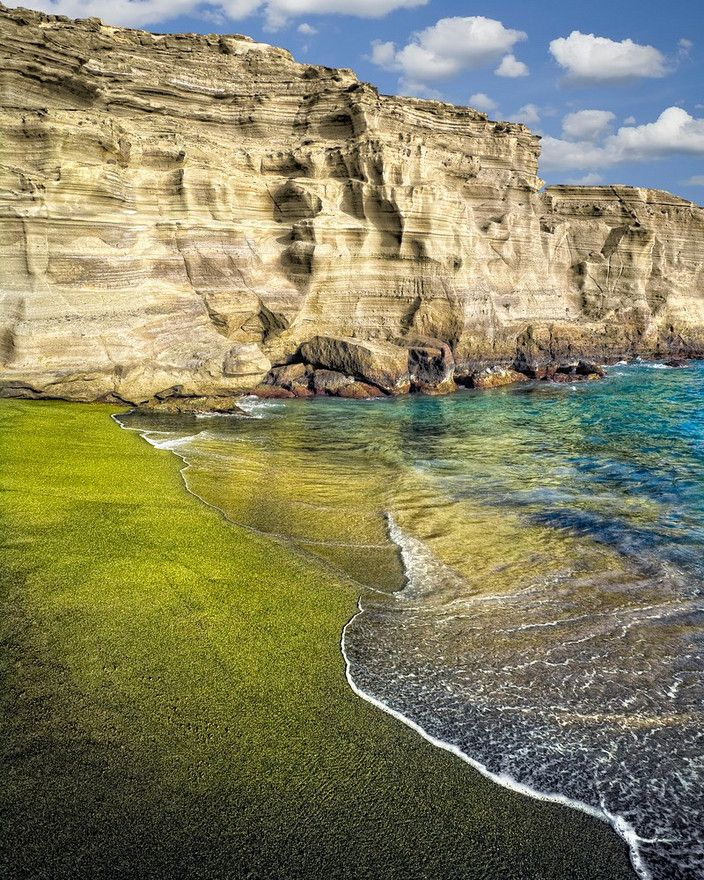 Green sand beach on Big Island, Hawaii - super hard to get to! See that cliff? You get to hike down it. According to islanders, it takes about 4 hours to hike to this beach. Sooo pretty.