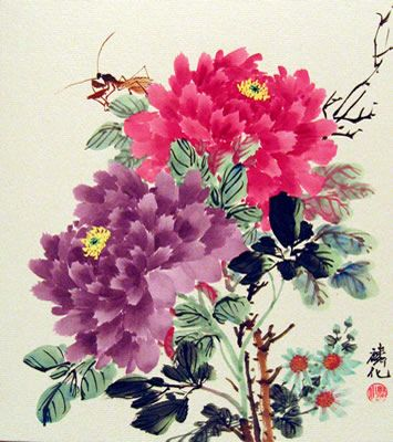 chinese flower painting peony 花 牡丹