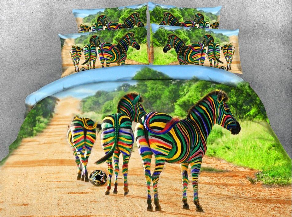 3d Colorful Zebra Bedding Set Animal Print Quilt Duvet Cover Bedspreads Bed Sheet Linen Super King Size Qu Zebra Print Bedding Zebra Bedding Animal Print Quilt