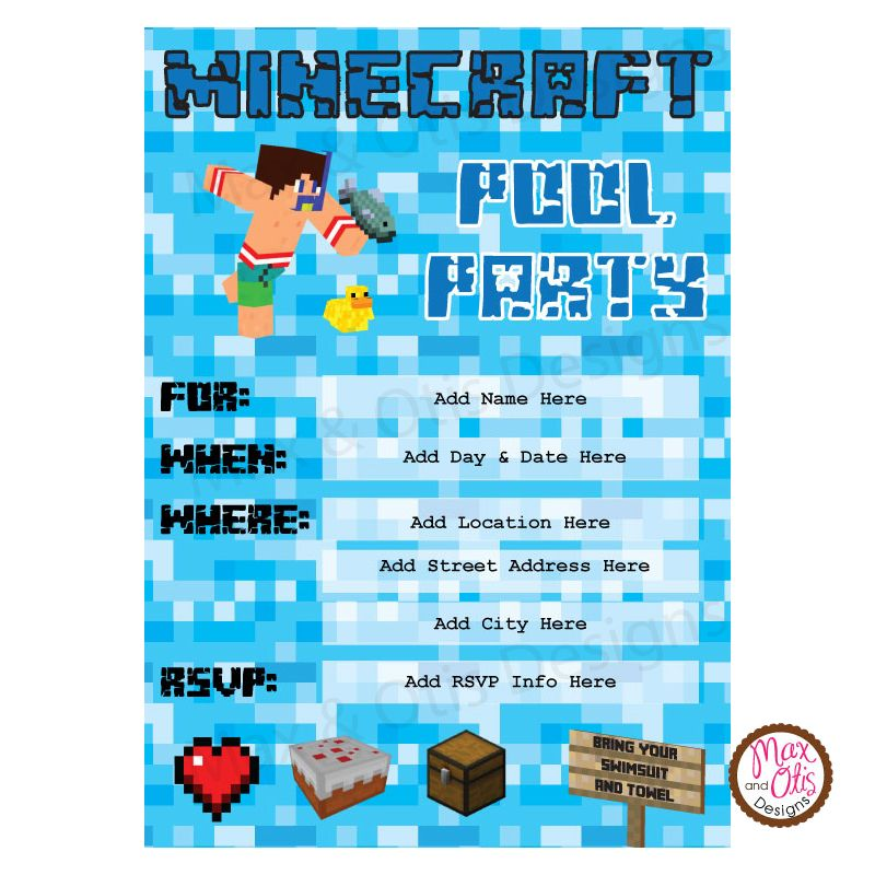 Minecraft Pool Party Editable Invitation  Party Ideas
